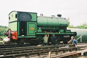 Peckett R4 Class0-4-0ST № 2104 undergoing running repairs, at Pitsford & Brampton station on the 22nd of August 2004. Photo: Dan Slater
