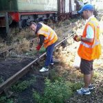 Nationwide Building Society volunteers Paul tightens a fish plate bolt at Pitsford Sidings. Note: No trains were in motion and railway volunteer working members were present ensuring the safety systems were in place. Photo: D.Millard