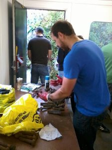 Sorting out the track fishplate nuts and bolts by useability, thread type and size. Photo: D.Millard