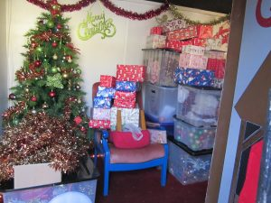 Santa has delivered some presents and decorations to his Grotto; ready for the boys and girls to visit in a few week's time. Photo: Grahame Every