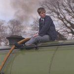 Antony Philip fills the water tank of Peckett 2104