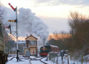 Peckett 2104 in the snow at Pitsford Sidings whilst hauling one of Santa's Special Trains. Photo: N&LR Collection