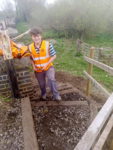 Henry Rivett testing out the new steps at the north end of Bridge 11 on 07 April 2019 Photo credit Graham Peacock